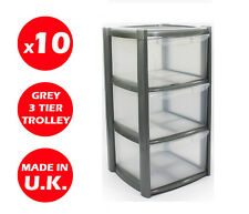 10 x 3 DRAWER PLASTIC STORAGE DRAWER - CHEST UNIT -TOWER - WHEELS -TOYS - SILVER