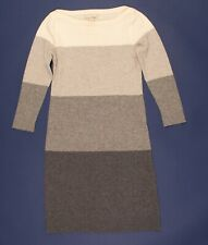 Banana Republic Italian Wool Cashmere Gray Stripe Sweater Dress XS Petite