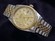 Mens Rolex Datejust 18K Yellow Gold & Steel Watch Champagne Diamond Dial 16013