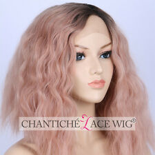 Best Ombre Pink Curly Short Bob Synthetic Hair Lace Front Wigs Heat Resistant UK