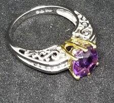 Amethyst Diamond Ring 4.5 Gr 14k Solid White Gold Dark Purple Diamonds sz 7.25
