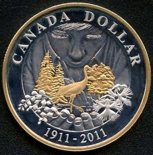 2011 Canada Proof Silver Dollar (Parks Canada 100th) Gold Plated 25.175 Gs .925