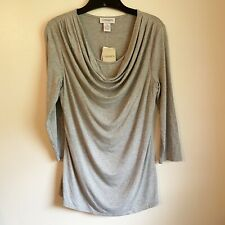 Carmen Marc Valvo Cowl Neck Heather Grey Knit Blouse NWT Size Medium
