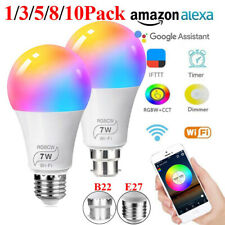 E27/B22 Smart LED Light Bulbs Wifi Dimmable Lamp For Alexa Google Magic Home US