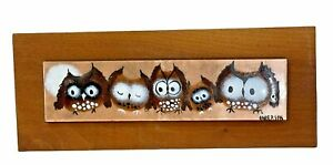 """Rowenna Anderson Enamel on Copper Painting Mid-Century Owls Signed 7.25"""" x 1.75"""""""