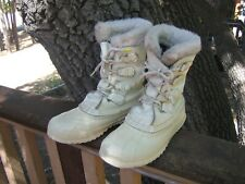 SOREL MANITOU WOMENS WHITE LEATHER/RUBBER INSULATED LINED SNOW/WINTER BOOTS 6