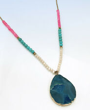 "PANACEA Gold-Tone Stone Beaded Geode Teardrop 33"" Long Pendant Necklace"