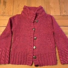 Carraig Donn Womens Cardigan Sweater Size Small Cranberry Speck Hand Knit Wool