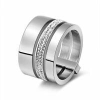 Edelstahl Ring 15 mm 3 Schichten Zirkonia Damen Modeschmuck Geschenk 2020 Neu.