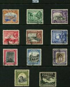 Cyprus Stamps KGV, 1934, Set of 11 G/F Used SG133/143- Cat £170 .