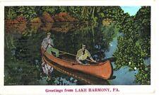 LINEN POSTCARD GREETINGS LAKE HARMONY PENNSYLVANIA CANOE MAN WOMAN PA 1939