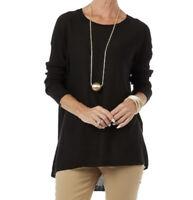 NEW MarlaWynne Black Crescent Hem Lightweight Pullover Sweater Size Small