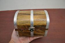 HANDMADE PIRATE TREASURE CHEST JEWELRY TRINKET WOOD BOX F-391B