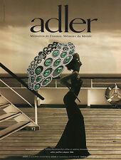 Publicité Advertising 2012 ADLER joaillier bague collier collection montre