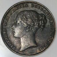 1860 NGC XF 45 Victoria Shilling Great Britain Key Date Silver Coin (20050303C)