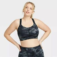Women's Camo Print High Support Zip Front Bra - All in Motion Black/Gray