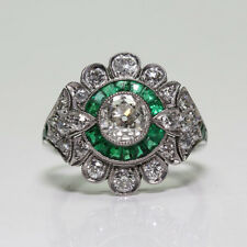 Fashion 925 Silver Antique Emerald Gemstone Ring Wedding Women Jewelry Size 6-10