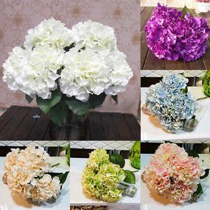 UK_ 5 HEADS ARTIFICIAL HYDRANGEA FAUX SILK FLOWERS WEDDING PARTY HOME DECOR FADD