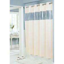 "Hookless Shower Curtain 71 x 74"", Beige, Clear Vinyl Window"