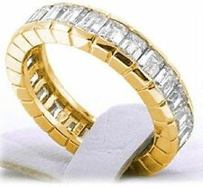 Ring Eternity Band 14K Yellow Gold 5.25 ct Emerald cut Classic Diamond Wedding