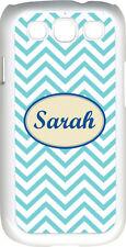 Monogrammed Aqua Blue Chevron Design Samsung Galaxy S3 Case Cover
