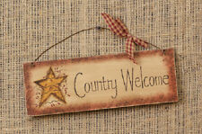 """""""Country Welcome"""" Sign With Primitive Star, 11"""" x 6"""" on Wire Hanger"""