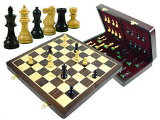 "Monarch Staunton Rosewood Chess Set Pieces 2-7/8"" + 15"" Folding Chess Board/Box"