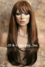 HEAT SAFE HUMAN HAIR Blend wig Long Straight Brown Auburn mix WBTO 4-27