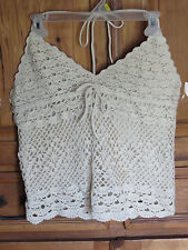 Vintage Crochet Top Lined Halter Festival Open Back Boho Hippie Blouse