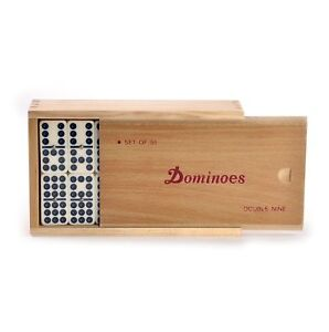 Club Double Nine Dominoes Set in a Wooden Slide Lid D9 Box NEW