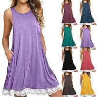 Womens Sleeveless Lace Tank Tops Vest Mini Dress Loose Holiday Beach Sundress