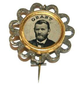 1872 ULYSSES S. GRANT FERROTYPE stickpin campaign pinback button badge political