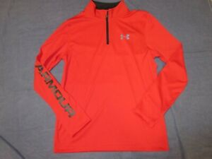 NEW NWT Boys UNDER ARMOUR Red 1/4 Zip Long Sleeve Shirt  Youth Large - Loose Fit