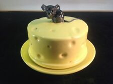 Vintage ceramic cheese wheel cheese cover and plate with black mouse on top