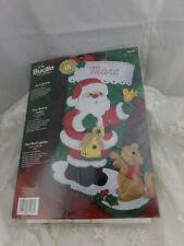 """Bucilla Felt Christmas Stocking Kit Santa & Kitty Finished size 18"""""""