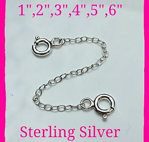 Solid Sterling Silver Safety Chain/Extender Necklace Bracelet With Spring Clasp