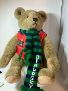 1982 Bialosky by GUND Teddy Save the Bears Plush Vest, Scarf and Backpack) 18""