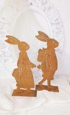 PÁTINA Conejo de Pascua Metal Decoración SET DOS Estilo Rústico Shabby 35c