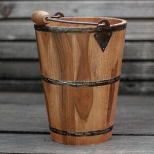 Holzeimer als Deko,Pflanzenkübel, Übertopf aus Holz, Eimer mit Metallbeschlag