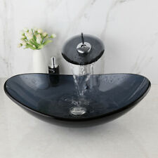 Bathroom Oval Tempered Galss Vessel Sink Basin Mixer Waterfall Faucet Brass Tap