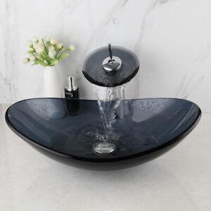 Bathroom Oval Tempered Galss Vessel Sink Basin Mixer Waterfall Faucet Brass Tap