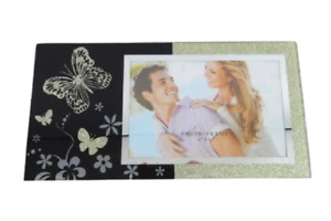 Mirrored Glitter 4 Inch X 6 Inch Picture Frame Butterflies Green Free Standing