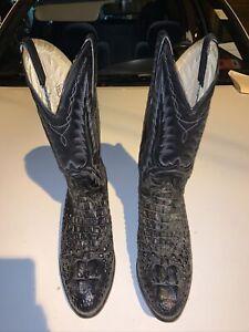 Dan Post Men's 10 Black Croc Alligator Leather Western Cowboy Boots Barely Worn