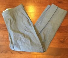 J.Crew Bedford 100% Cotton Blue Casual Flat Front Pants Men's Size 35 x 32