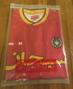 Supreme Arabic Logo Soccer Jersey Size Large Red SS21 Supreme New York 2021 DS