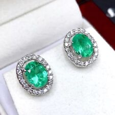 COLOMBIAN 2.78TCW Emerald Diamond 18K solid WHITE gold Earring Stud natural Oval