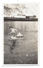 LULWORTH COVE Dorset, You Boy with Model Sail Boat - Vintage Photograph c1935