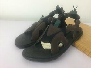Sz 11 Vtg Nike ACG Sandals Brown Leather w/Blue Hiking Trail All Terrain Water