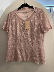 Jaques Vert Evening Top Pink Lace Short Sleeve BNWT Size L/18