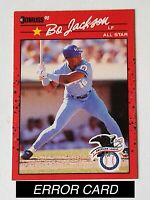 BO JACKSON 1990 DONRUSS ALL-STAR #650 RARE ERROR (RECENT MAJOR LEAGUE BACK) B